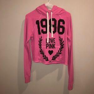 Victoria's Secret pink cropped hoodie pink